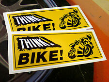 THINK BIKE Motorcycle Safety Awareness Stickers Decals 2 off 200mm