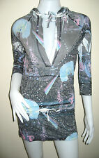 New CUSTO BARCELONA women's V neck 3/4 sleeve hooded tunic top Size 3 Free ship