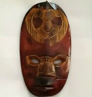 """Ivory Coast Hand Carved Guro African Mask 13"""" x 7"""" Wood"""