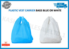 Plastic Vest Carrier Bags Blue OR White - Supermarkets Stalls Shops - ALL SIZES