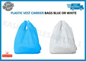 Plastic Vest Carrier Bags Blue OR White - Supermarkets Stalls Shops - ALL SIZES