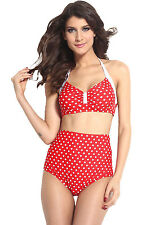 Red White Polka Dot Pinup Bikini High Waist Bottoms Beach Swimwear Large 40694
