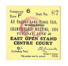1936 - Wimbledon Championship (Centre Court) Ticket.