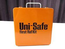 Vintage UNI-SAFE First Aid Kit Orange White Metal Box Collectible