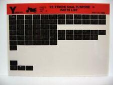 Yamaha XT500 1978 XT500E Dual Purpose Parts List Manual Microfiche n18