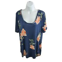 Maurices 24/7 Womens Size Large Short Sleeve Casual Top Navy Blue Floral Print