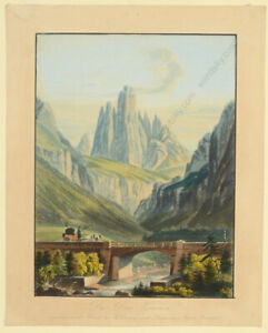 """Martens (d.1875) """"Drei Zinnen"""" in South Tyrol"""", watercolored lithograph, 1850s"""
