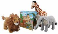 Dazmers Stuffed Safari Animal Toys W/ Book,  Plush Soft Lion, Giraffe & Elephant