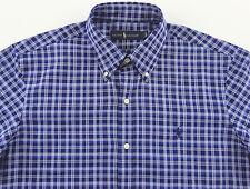Men's RALPH LAUREN Blue White Oxford Plaid Shirt Large L NWT NEW Soft Cotton