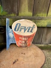VINTAGE 1940/50s ORVIT SOFT DRINKS DOUBLE SIDED SIGN alloy shop wall display