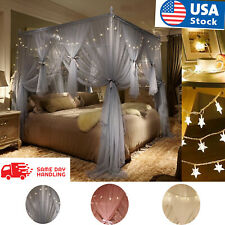 3 Door Square Bed Canopy with Led Star String Lights Mosquito Netting Curtains