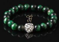 Tigerauge grün - silberfarbener Löwenkopf - Armband Bracelet Perlenarmband 8mm
