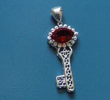 """RED TOPAZ SOLID 925 SILVER 2.5"""" KEY TO YOUR HEART PENDANT, A LOVERS KEY!"""