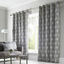 FLORAL GREY BLUE WHITE BROWN 100/% COTTON RING TOP CURTAINS *9 SIZES*