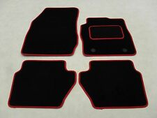 Ford Fiesta 2011-2017 Fully Tailored Deluxe Car Mats in Black with Red Trim.