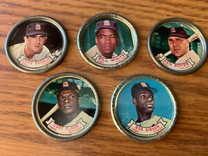 5 St Louis Cardinals Topps 1964 Coins Boyer, White, Broglio, Flood, Gibson