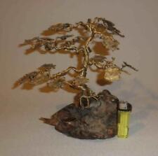 Bonsai Exklusiver Messing Drahtbaum goldfarben 25cm Bäumchen Glücksbaum Asien