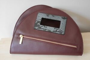 NEW STELLA MCCARTNEY Faux Leather Oval Foldable Clutch in Maroon