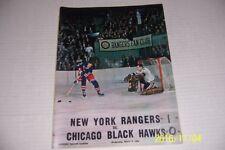 1966 CHICAGO BLACK HAWKS vs NEW YORK RANGERS Program + Ticket Jean RATELLE