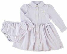 RALPH LAUREN Baby Girls' 2pc Dress & Pants Set, Purple Oxford Stripe, 12 months