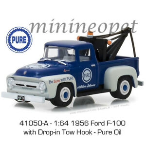 GREENLIGHT 41050 A 1956 FORD F-100 TOW TRUCK with DROP TOW HOOK 1/64 PURE OIL