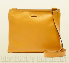 GUCCI yellow DIAMANTE embossed Leather Messenger Cross-Body bag NWT Authen $990!