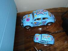 Kinsmart - 2 Volkswagon Beetles -  1/32 & 1/64 Scale - Blue -   Peace / Love