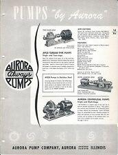 Equipment Brochure - Aurora - Pumps - Turbine Centrifugal et al c1952 (E3291)