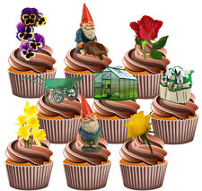 Gardening, Gnomes, Flowers Mix - 36 Edible Stand-up Cup Cake Toppers Decorations