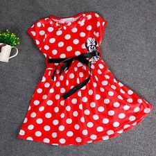 kids girls summer cartoon Minnie dots cute dress short sleeve sk18R 3-4 Years