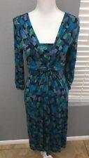 Boden Geometric Print Stretch Knit Wrap Bust Teal Dress Sz 6L 6 Long 3/4 Sleeve
