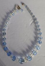 Antique Edwardian Pale Light Blue Clear Faceted Glass Graduated Beads Necklace