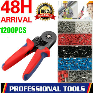 Crimp Tool Ratchet Ferrule Crimper Plier + 1200pcs Wire Terminal Connector Set U