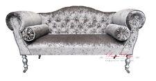 Gorgeous Crushed Dark Grey Diamonte Velvet Double Ended Chaise Sofa