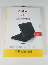 Zagg Folio Wireless Keyboard & Case for iPad Mini 4 - Bluetooth - Black - New!