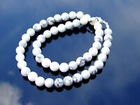 White Howlite Natural Gemstone Necklace 8mm Beaded 16-30inch Healing Stone