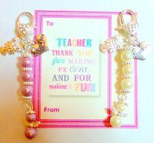 Thank you Gift for Teachers  Pearl Bag Charm & Owl on Gift Card organza Bag