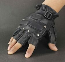 Men's Biker Fingerless Stud Real Leather Gloves With Knuckle Protection