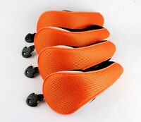 4pcs Golf Wood Club Headcovers Hybrid Cover Neoprene Black Orange for Taylormade