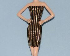 DAZZLING Black & Gold Vertical Striped UNIQUE Party Dress for BARBIE Clothes F1