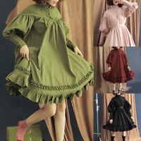 Gothic Lolita Dresses Women Long Sleeve Loose Puff Sleeve Cute Princess Dress B0