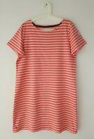 JOULES Riviera Pink White Stripe Short Sleeve Jersey T-Shirt Dress Size 18