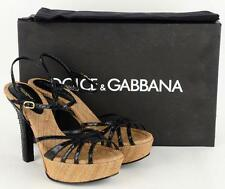 $985 DOLCE & GABBANA PLATFORM PYTHON LEATHER RAFFIA SHOES SANDALS 36 - 6