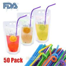50Pcs Drink Pouches Bags with 50 Straws Clear Translucent Stand-Up Zipper Seal