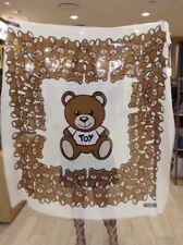 NWT Moschino Bear Square Scarf Shawl Wrap Wool /Silk Blend White Made In Italy