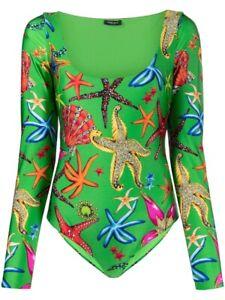 NWT Versace Tresor De La Mer Long-Sleeve Bodysuit size IT 42/ US 6