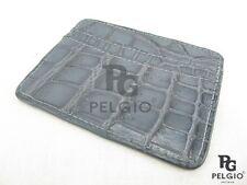 Pelgio Genuine Crocodile Alligator Skin Leather Slim Credit Card Holders Grey