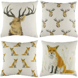 Stag Head Repeat Fox Repeat Cushion Covers By evans lichfield