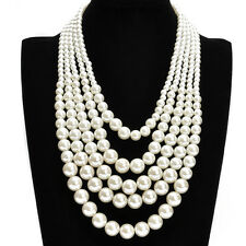Fashion White Resin Pearl Chain Choker Chunky Statement Pendant Bib Necklace US