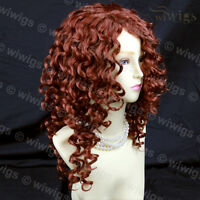 Wiwigs Lovely Long Curly Copper Red Versatile Skin Top Ladies Wig